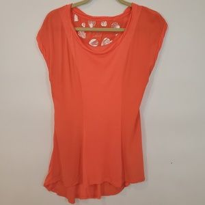 Anthro Pilcro And The Letterpress Coral Top